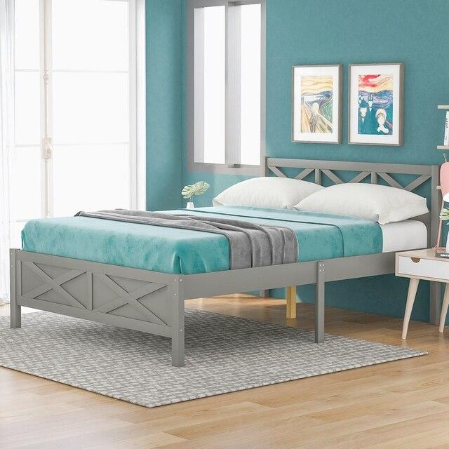 Queen Size Wooden Platform Bed 3