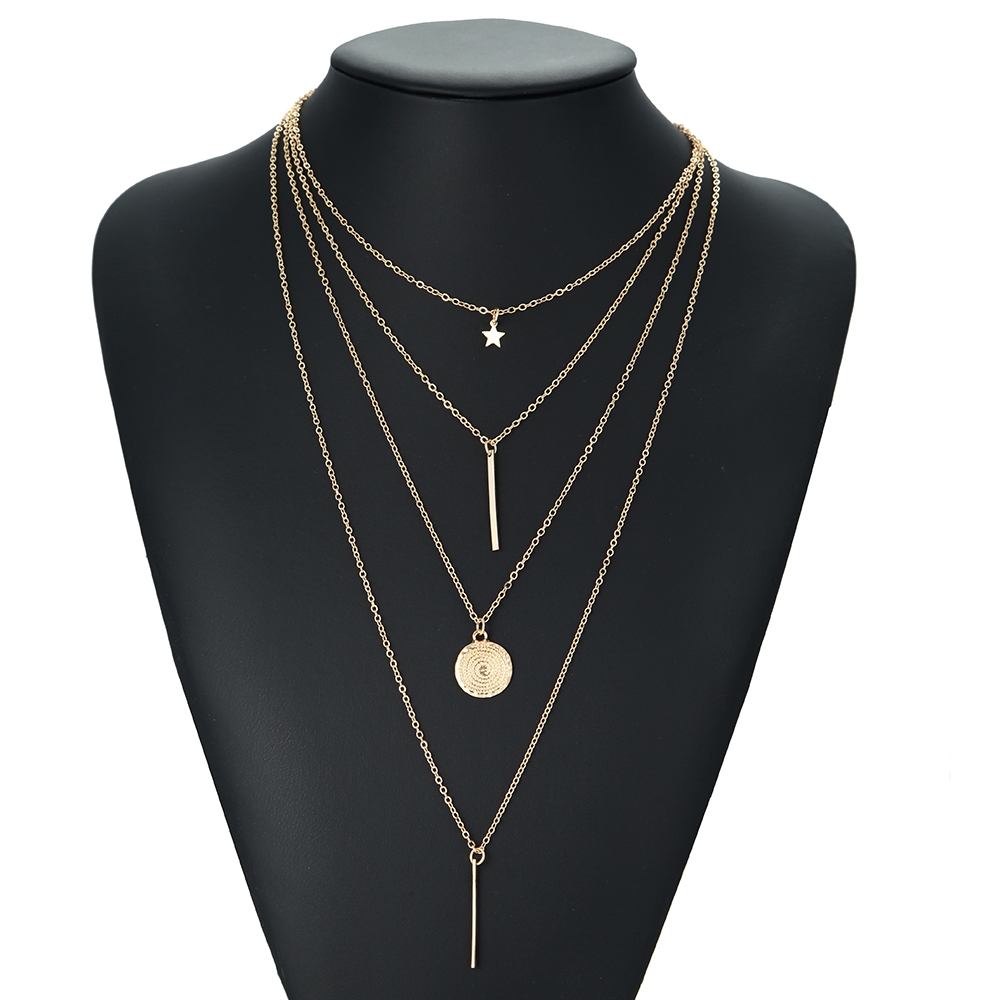 Vintage Multilayer Crystal Pendant Necklace Gold