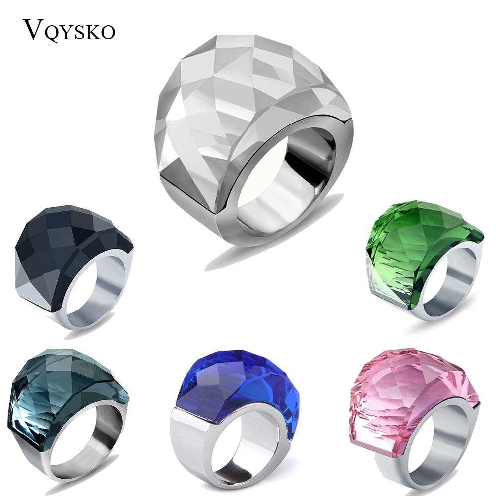 Wholesale Stainless Steel Wedding Ring Jewelry Supplies Fashion Big Stone Rings for women costume accessories