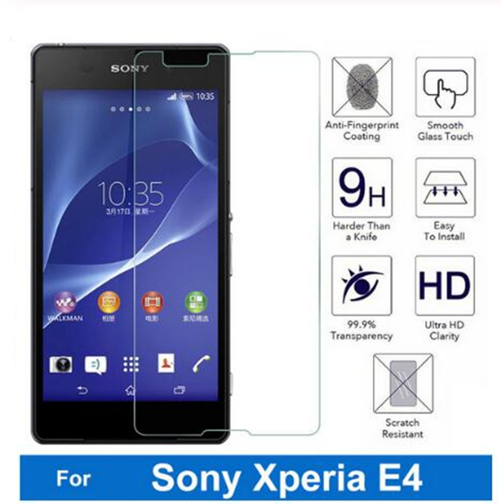 2.5D 0.3mm tempered glass For Sony Xperia E4 E2105 E2114 E2115 dual 5.0 screen protector guard film front case cover +clean kits image