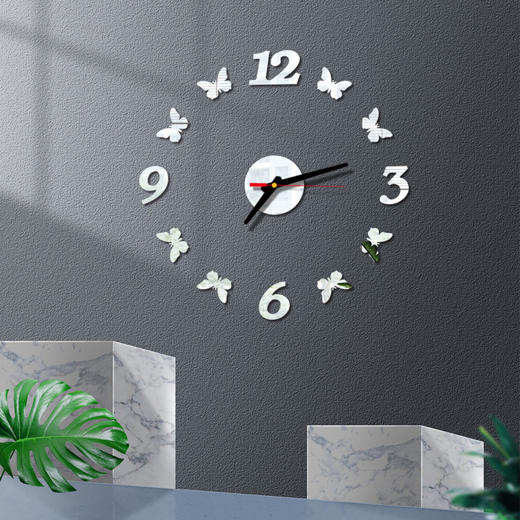 DIY Exquisite 3D Roman Numbers Wall Clock Mirror Sticker Art Design Home Decoration Living Room Reloj De Pared