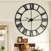New 80 cm Modern 3D Large Retro Black Iron Art Hollow Wall Clock Roman Numerals Home Decor