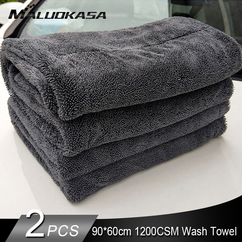 2PCS Car Detailing 90x60cm Car Wash Cloth Microfiber Towel Car Cleaning 1200GSM Rag For Cars Thick Microfiber For Car Care