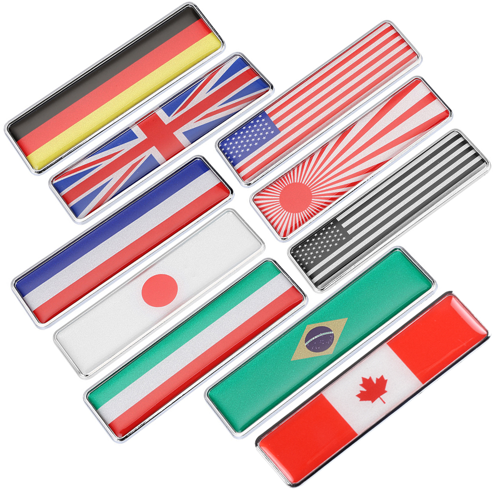 Country Flag Car Stickers Decals Accessories CA USA IT BR JP GE FR UK Metal Emblem Bumper Trunk Tailgate Alloy Waterproof Cool
