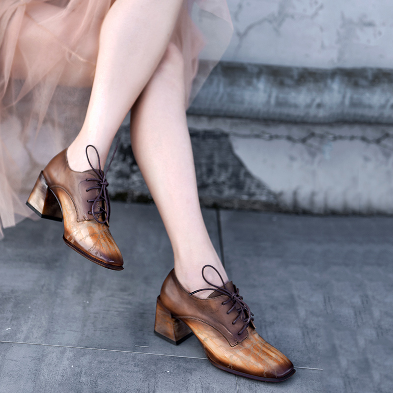 Artmu Original Retro Handmade Thick Heels Deep Mouth Womens Shoes High Genuine Leather Pumps Four-season