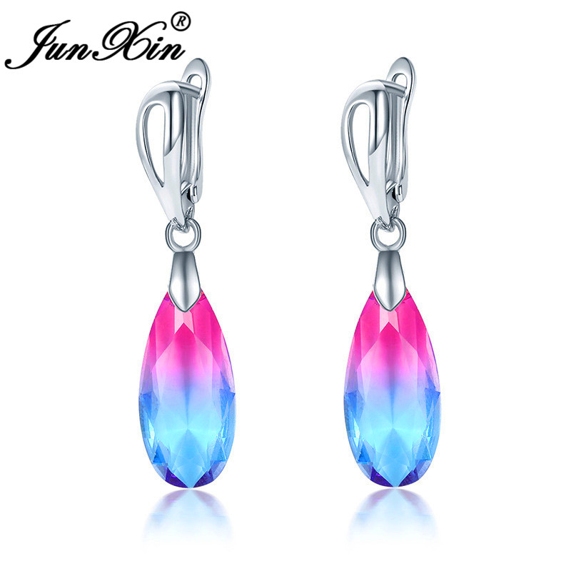 Mystic Fire Crystal Teardrop Hoop Earrings For Women Rainbow Pink Black Blue Green Zircon Yellow Gold Stone Wedding Earrings CZ