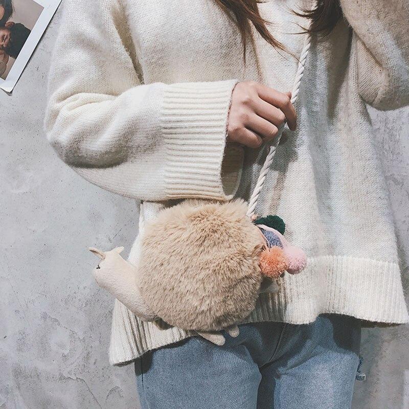 Wholesale Women New Arrival Fashion Casual Cute Personalized Messenger Bag All-match Velvet Snail Shape Shoulder Messenger Bag