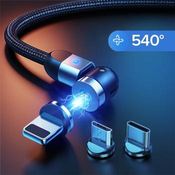 GETIHU 540 magnetyczny kabel USB typu C Micro szybka ładowarka magnes ładowarka do telefonu iPhone 12 11 Pro X Max 7 8 Plus Huawei Xiaomi tanie i dobre opinie Rohs LIGHTNING TYPE-C Micro Usb 2 4A CN (pochodzenie) USB A Magnetyczne Black Red Silver 0 5m (1 6ft) 1m(3 3ft) 2m(6 6ft)