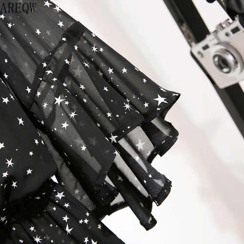 2020 חדש אישה קצר סרבלי כוכב הדפסת V-צוואר מקרית סרבלי Rompers גבוהה מותניים רחב רגל שיפון Playsuit שחור בגד גוף