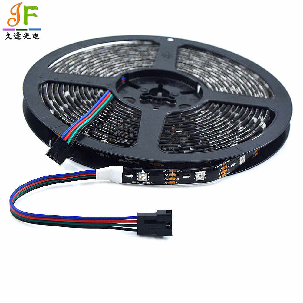 Baru 1 M/5 M APA107 LED Strip RGB Pixel Tape, 5V 5050 SMD Addressable Smart 30/60/72/144 LED/M, putih/Hitam PCB, IP20/IP65/IP67