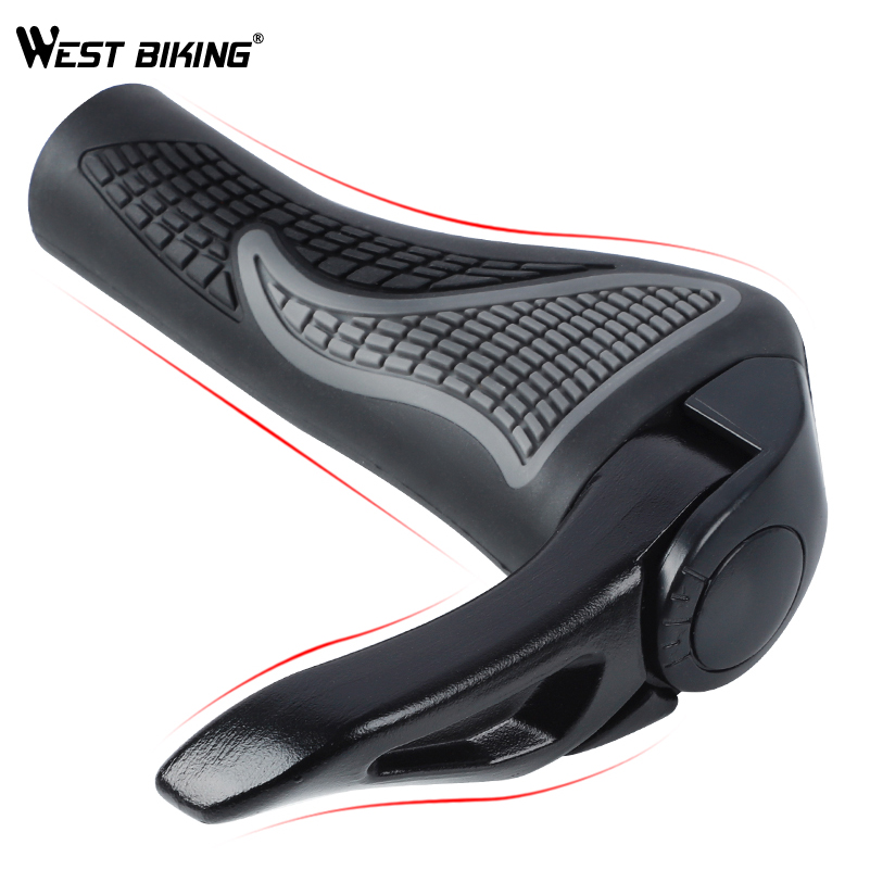 WEST BIKING MTB Bike Grips Anti-Skid Ergonomic Bicycle Grips Bike Bar ends Handlebars Rubber Push On Bicycle Parts Cycling Grips 3