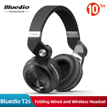 Original Bluedio T2s Bluetooth Leather Headphones with Mic Rotary Folding Wired and Wireless Sport Headset for iPhone PC /Tablet