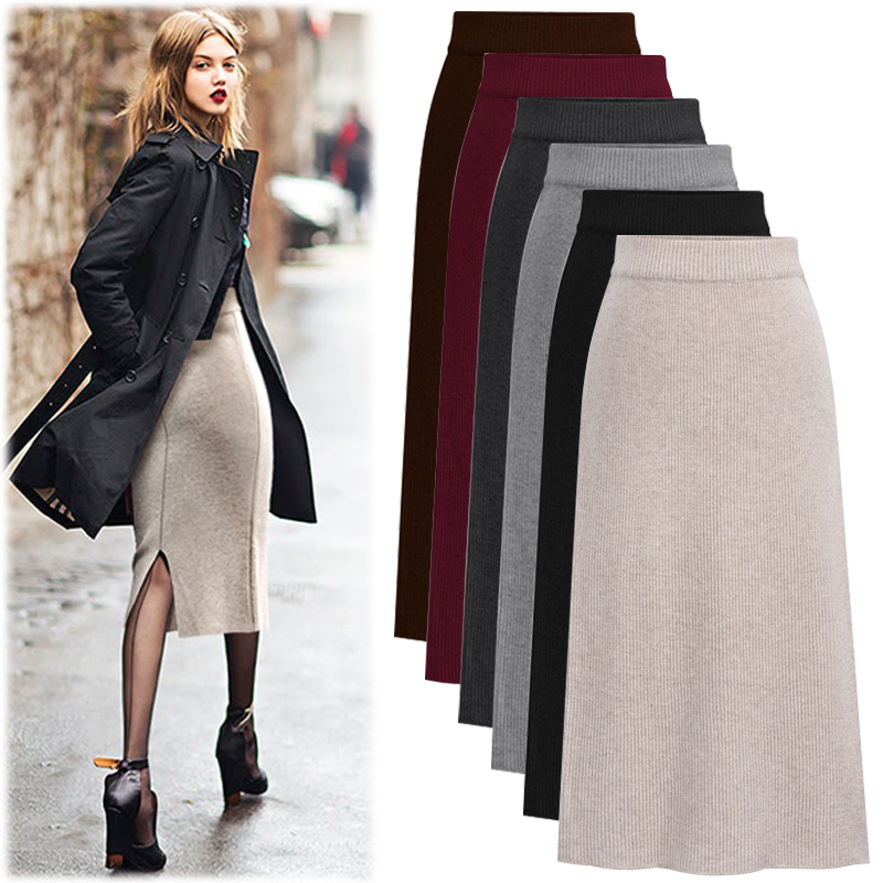Women's Pencil Skirt 2019 Autumn Winter Women Solid Package Hip Skirt Knitted Bodycon Skirt Black Solid Ladies Wear Skirts