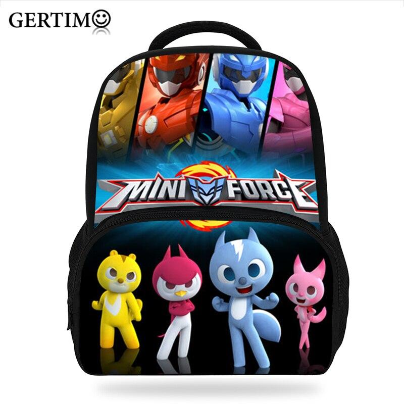 Kids Boys Girls Kindergarten  3D Cartoon Bag Miniforce/Mini Commando Pattern Backpack Character Book Bags & School Backpacks
