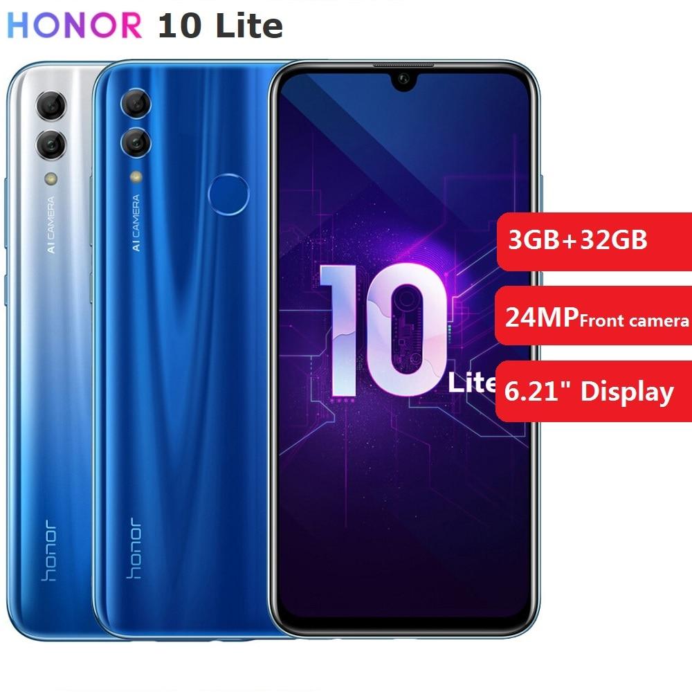 """Глобальная версия Honor 10 Lite 3 ГБ + 32 Гб Смартфон 6,21 """"Android 9,0 Восьмиядерный 24мп камера отпечаток пальца мобильный телефон"""
