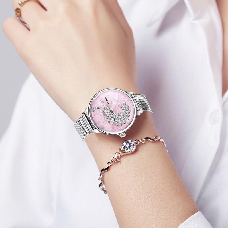 New BENYAR Women Watches Quartz Ladies Watches Top Brand Luxury Genuine Leather Women Watch Silver Hand Clock Montre Femme 2019 in Women 39 s Watches from Watches