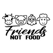 Dawasaru kişilik çıkartması Vegan arkadaşlar değil gıda inek tavuk domuz araba Sticker dizüstü oto aksesuarları dekorasyon PVC,15mc * 8cm
