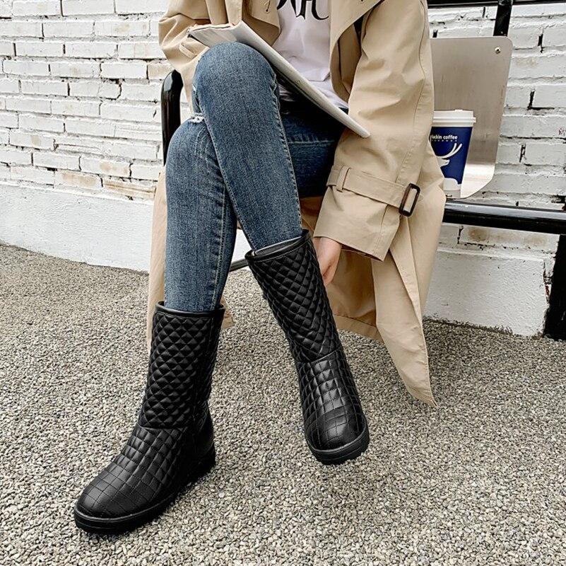 Image 5 - BLXQPYT Super Big & small Size 33 53 da Neve do Inverno Botas de Mulheres 2019 rodada toe Altura Crescente casual quente pelúcia Sapatos de mulher 233Botas de cano médio   -