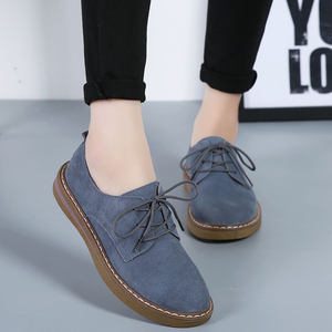 Image 5 - Cow Suede Leather women Flats oxford shoes Spring Ladies sneakers Loafers Casual Shoe 2018 Moccasin Plus Size Autumn Boat Shoes