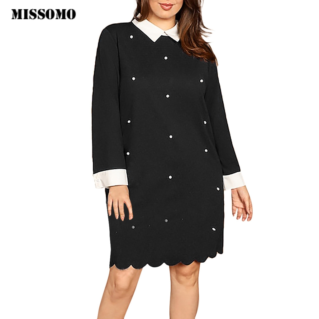 MISSOMO Plus Size Dress Women Casual 5XL Women Dresses Long Sleeve Beading Solid Turn-Down Collar Winter Dress Vintage Vestidos