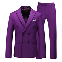 Suit Men New Men's Large-size Suit Two-piece Suit with Double-breasted 8 Solid Color Slim Business Casual Mens Suits with Pants