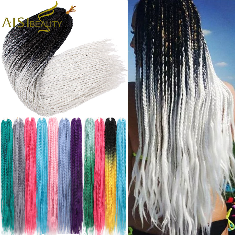 AISI BEAUTY Senegalese Twist 24''inch Ombre Vacation Cosplay Crochet Hair Extensions Synthetic Dreadlocks For Women