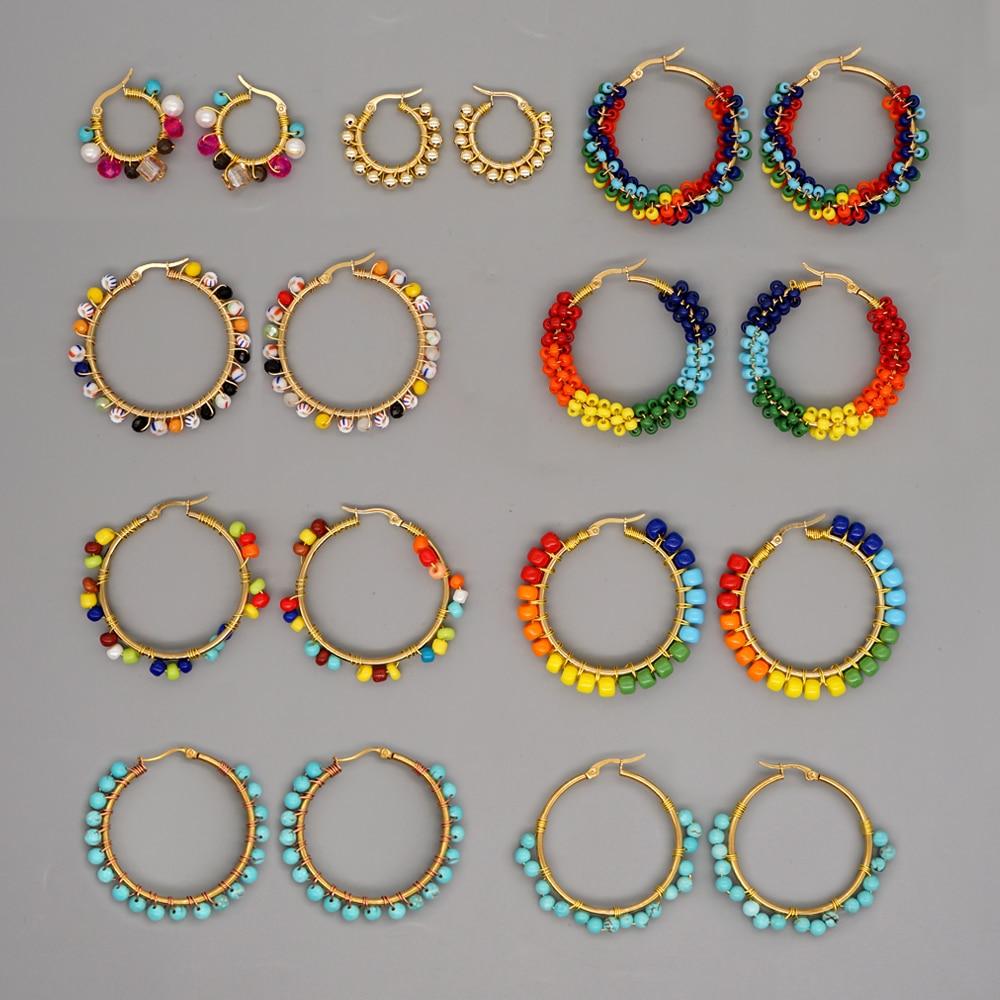 Go2Boho Beads Ear Ring Hoop Earrings Bohemian Natural Stone Pendiente Boho Jewelry 2021 Women Earrings Stainless Steel Circle