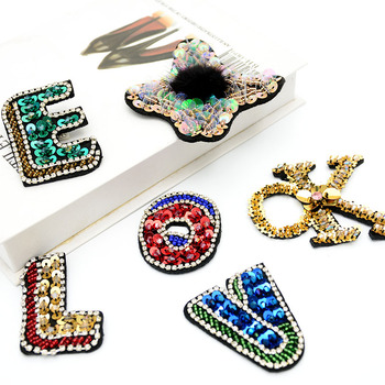 Handmade Beading Sequins Colorful English Alphabet LOVE OK Cloth Stickers Coat Clothing Accessories Bag Shoes DIY Sew On Patches