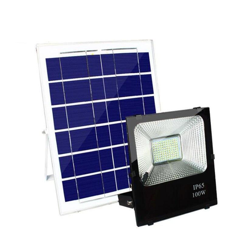 Işıklar ve Aydınlatma'ten Işıldaklar'de 4 ADET LED Güneş projektör 100W Projektör Güneş Sensörü Lambası Su Geçirmez IP65 Açık Acil Güvenlik Bahçe Sokak title=