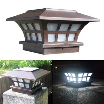 Lámpara Solar para valla, luz de paisaje, lámpara para poste de jardín, lámpara impermeable IP65, cubierta de camino, decoración cuadrada, lámpara de noche