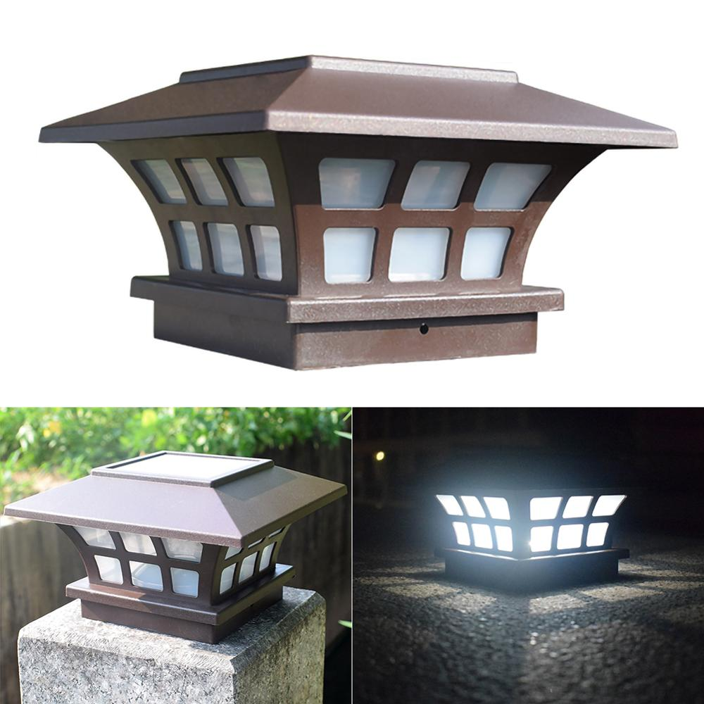 Solar Fence lamp Landscape Light Garden Post Cap Lamp Outdoor IP65 Waterproof Path Deck Square Decor Night Lamp Fast Delivery
