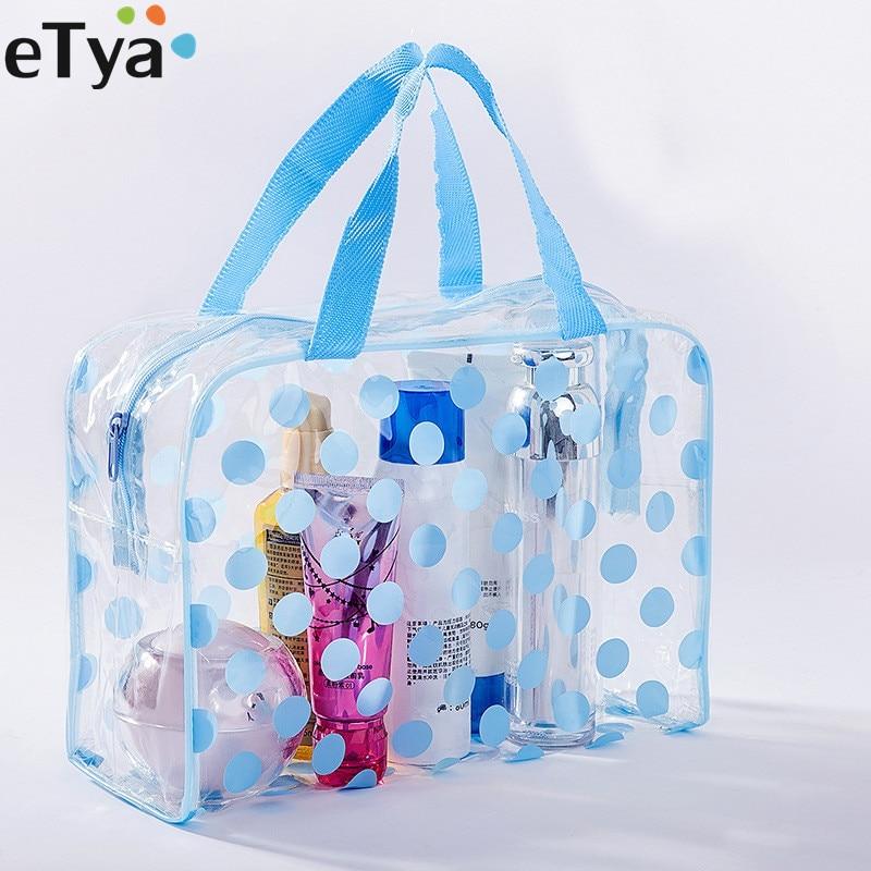 ETya Fashion Dot Women Travel Transparent PVC Cosmetic Bags Fashion Waterproof Neceser Makeup Pouch Wash Toiletry Tote Bag Case