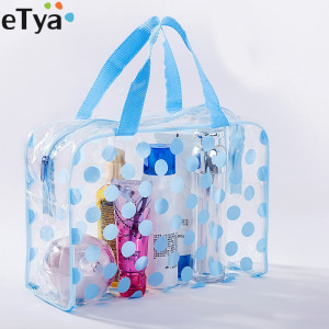 eTya Fashion Dot Women Travel Transparent PVC Cosmetic Bags Fashion Waterproof Neceser Makeup Pouch Wash Toiletry Tote Bag Case(China)