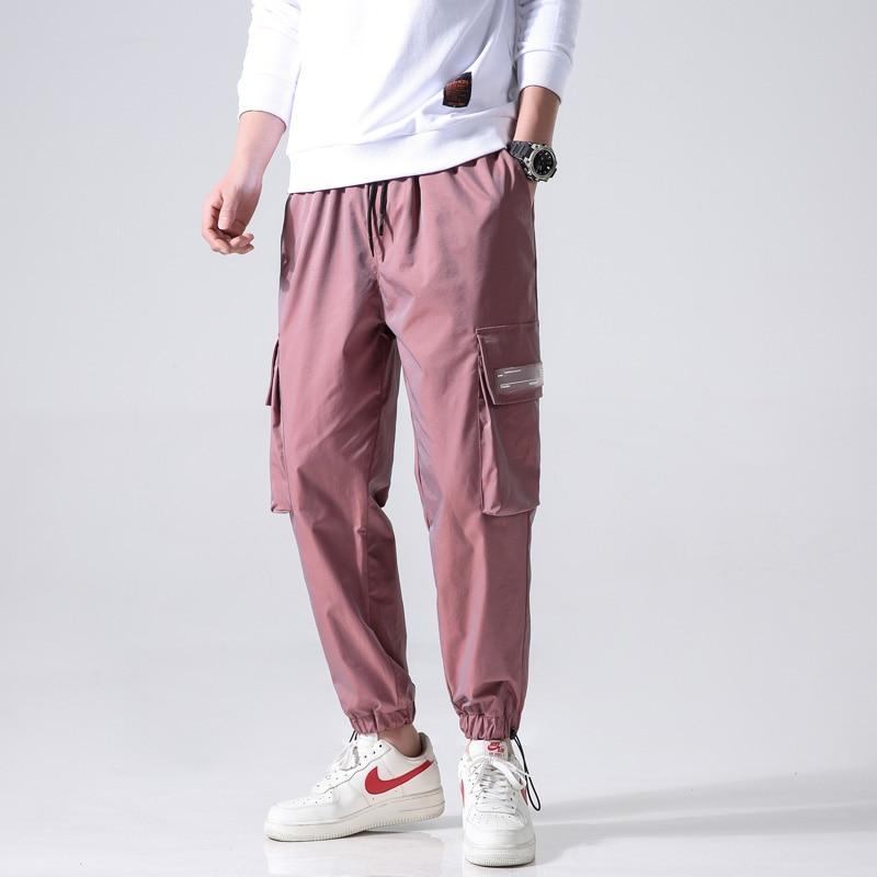 Reflective Hip Hop Pants Men Joggers Sweatpants Men's Streetwear Men Harem Cargo Pants 2020 New Loose Elastic Waist Trousers