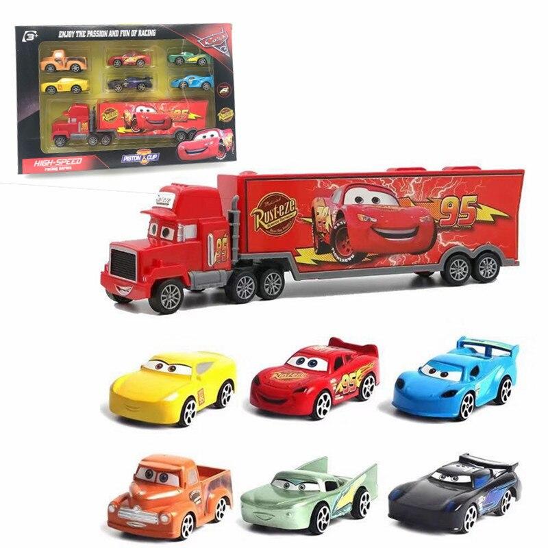 7 шт. Дисней Pixar тачки 3 Молния Маккуин Джексон шторм Круз Мак дядюшка грузовик 1:55 литая под давлением модель автомобиля для детей Рождественский подарок - Цвет: with Retail Box3