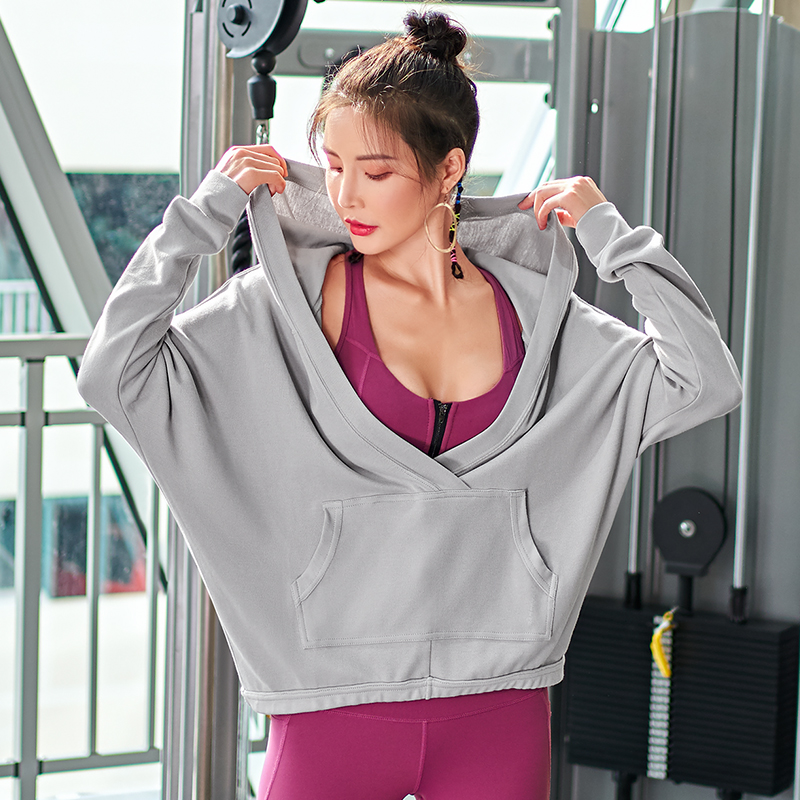 Women Sports Jacket With Pocket Hooded sweater for workout running dancing yoga tops long sleeves fitness gym shirts fashion spo