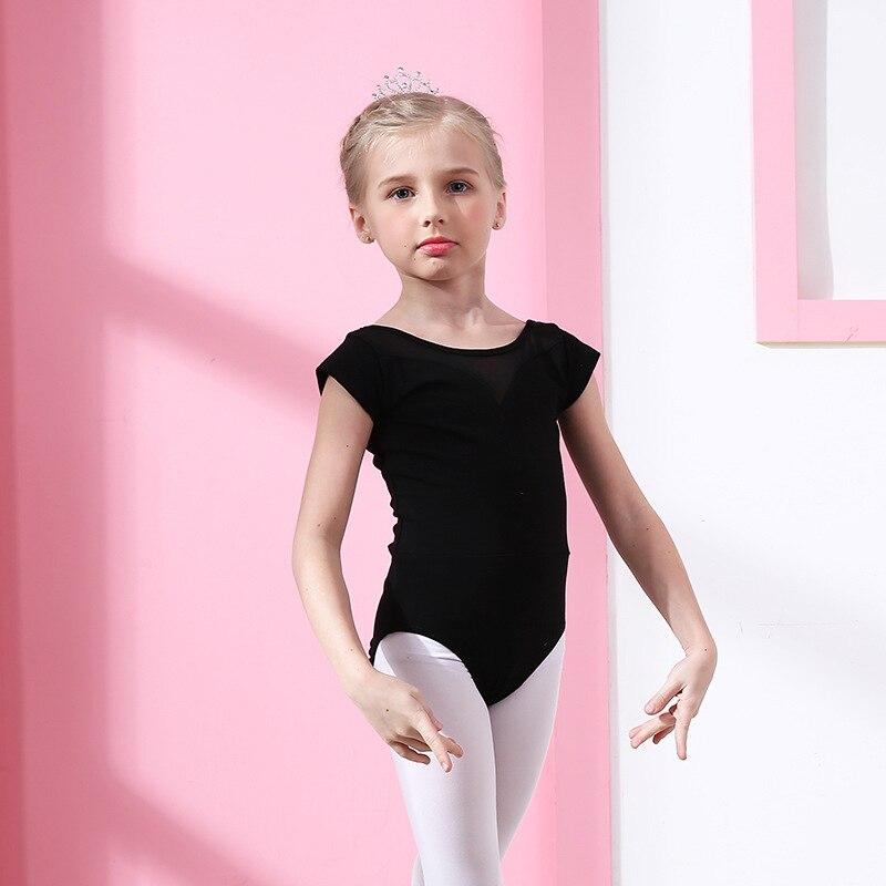 Детская танцевальная балетная Одежда для девочек; балетная юбка для осмотра; кружевная юбка с длинными рукавами; плотная разноцветная балетная одежда для латиноамериканских танцев - Цвет: Black short sleeve