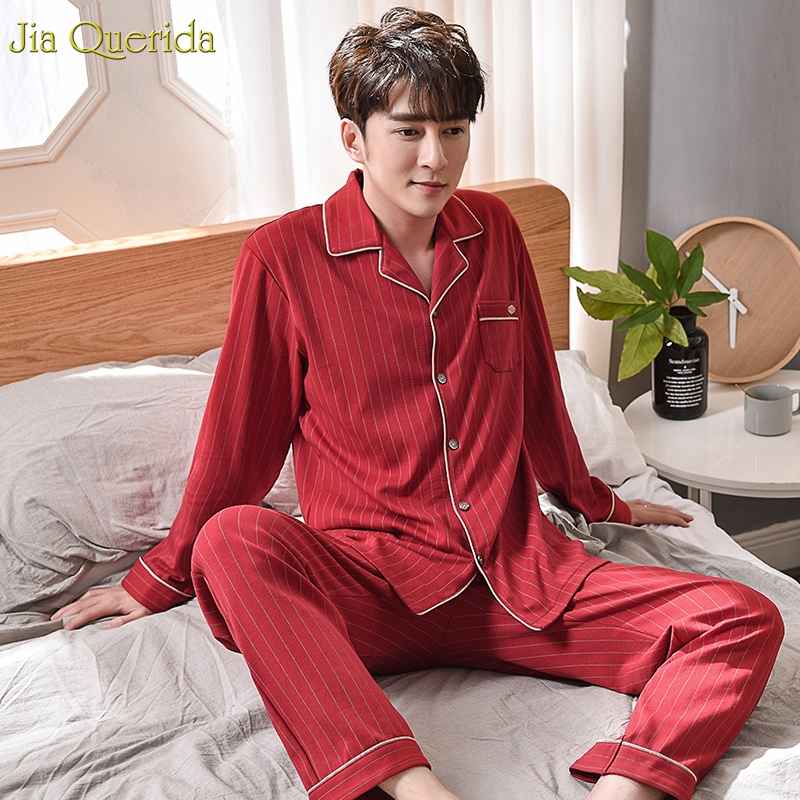 Mens Cotton Pajama Set Long Sleeves Chinese Red Pajamas Striped Mens Pajama Set 100% Pure Cotton Luxury Home Clothing For Male