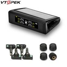 цена на Vtopek TPMS Car Alarm Tire Sensor Pressure Monitoring Intelligent System Solar Power USB Charge LED Display 4 External Sensors