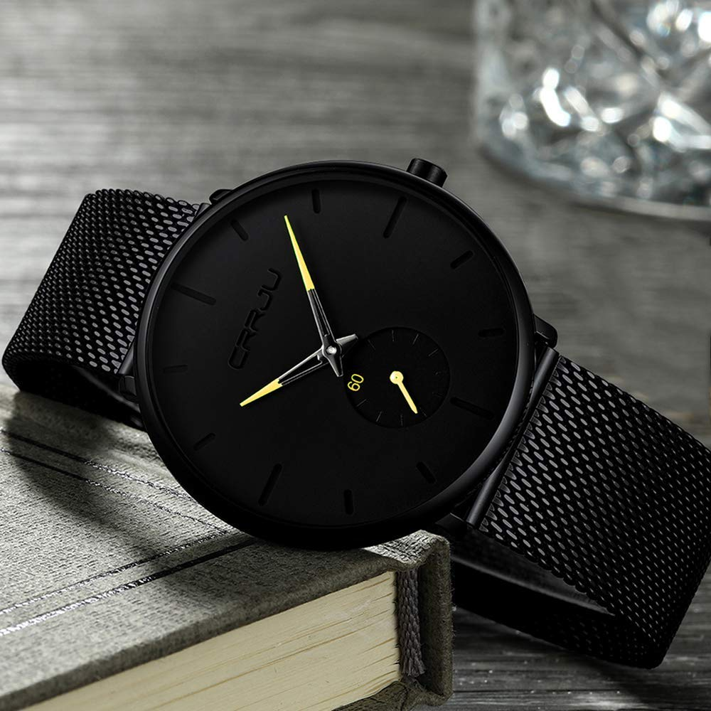 H10fb0c6a1fd04fc0ac9c0e032396021c8 CRRJU Ultra Thin Blue Stainless steel Quartz Watches Men Simple Fashion Business Japan Wristwatch Clock Male Relogio Masculino