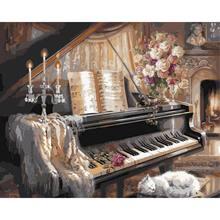 Pintura de piano por números imagens paisagem sobre tela com quadro kits diy para adultos pintados à mão desenho colorir por número