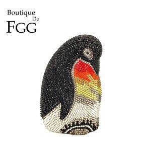 Boutique De FGG empereur pingouin femmes pochette en cristal sacs De soirée en métal Minaudiere mariée mariage diamant sacs à main et sacs à main