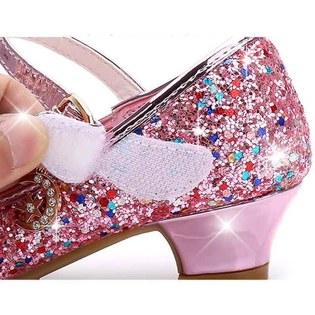 Children Princess Shoes for Girls Sandals High Heel Glitter Shiny Rhinestone Enfants Fille Female Party Dress Shoes 5