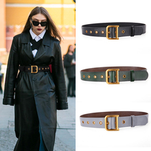 Leather Belt Women's New Trend Retro Gold D-Shape Button Wide Leather B