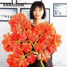 78cm 12pcs 5 Fork Large Artificial Maple Tree Leaves Branch Silk Leaf Autumn Decoration White Ginkgo Foliage For Home Decor