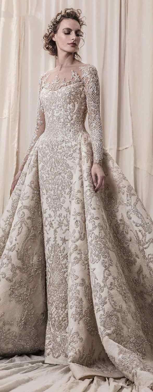 Luxe Kralen Pailletten Lace Trouwjurken 2020 Romantische A Line Met Lange Mouwen Bruidsjurken Robe De Mariee