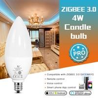 GLEDOPTO Zigbee 3,0 Smart RGB LED Lampe E14 E12 4W Pro Für Schlafzimmer Wohnzimmer Kompatibel mit Tuya APP stimme RF Fernbedienung