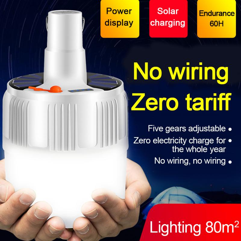 Portable 5000K24LED 20W Rechargeable Solar LED <font><b>Bulb</b></font> <font><b>Light</b></font> Outdoor Indoor Camping Tent <font><b>Light</b></font> <font><b>Emergency</b></font> Night Market <font><b>Light</b></font> image