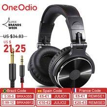 Oneodio professional dj studio com fio monitores fone de ouvido sobre fone de ouvido de gravação de ouvido fone de ouvido estéreo para telefone computador