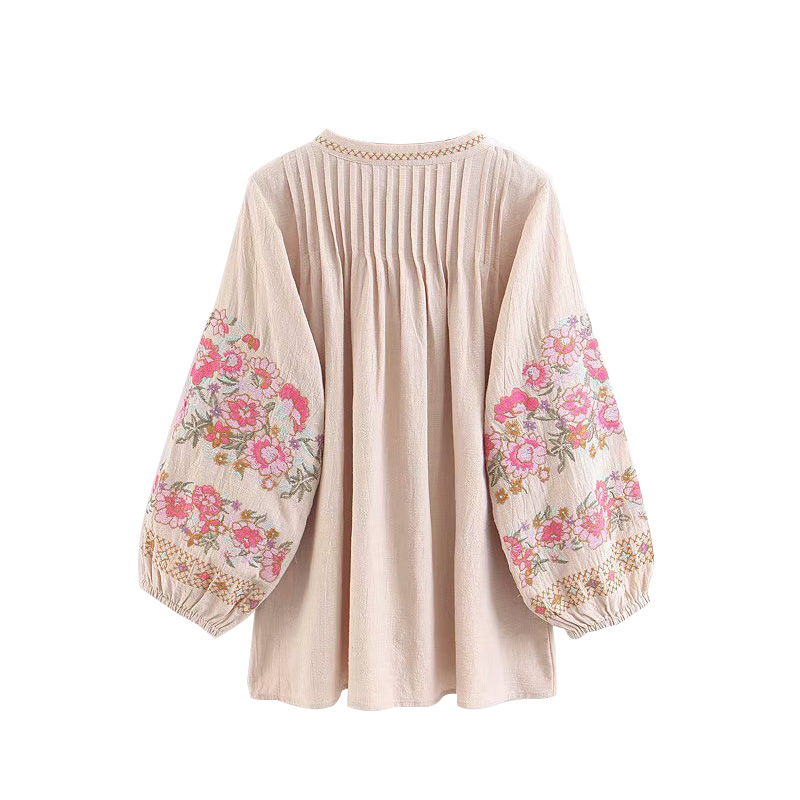 CoshiMunasi Boho Shirts Women Summer Beach Tops Vintage Floral Embroidery Tassel Blouses Fashion Shirts Loose Womens Clothing